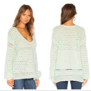 Free People Crashing Waves Mint Green Sweater M